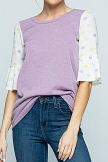 SOLID CONTRAST POLKA DOT SHORT SLEEVE KNIT TOP