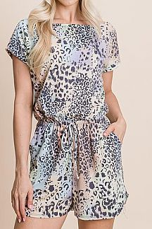 TIE DYE AND ANIMAL PRINT SHORT DOLMAN SLEEVE ROMPER