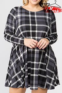 CHECKER PRINT SHIFT DRESS