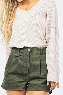SOLID DOUBLE LAYERED WAFFLE KNIT TOP