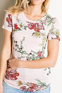 FLORAL PRINT SHORT KNIT TOP