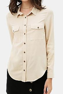 SOLID LONG SLEEVE SHIRT TOP