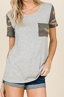 SOLID CONTRAST CAMO PRINT KNIT TOP