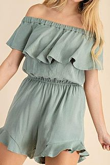 SOLID OFF SHOULDER RUFFLE OVERLAY ROMPER