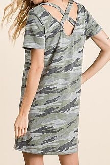 CAMO PRINT SHORT SLEEVE KNIT DRESS