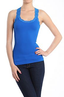 SEAMLESS RIBBED RACERBAK TANK TOP WITH LACE TRIM