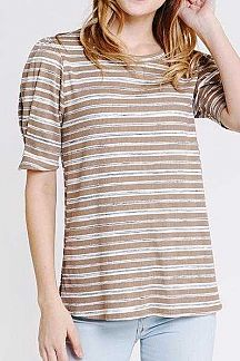 STRIPPED BANDED SHORT SLEEVE KNIT TOP