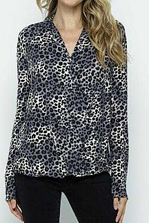 ANIMAL PRINT WRAP FRONT LONG SLEEVE TOP