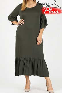 SOLID RUFFLED POCKET DRESS