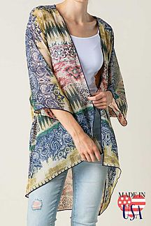 MIXED PRINT 3/4 SLEEVE CARDIGAN
