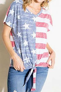 AMERICAN FLAG PRINT SHORT SLEEVE KNIT TOP