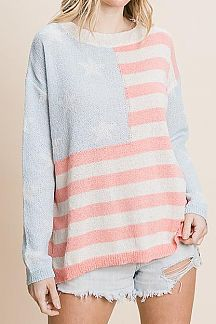 AMERICAN FLAG THEME LONG SLEEVE SWEATER TOP