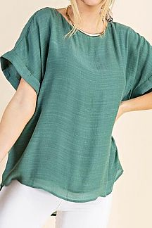 SOLID DOLMAN SLEEVE KNIT TOP