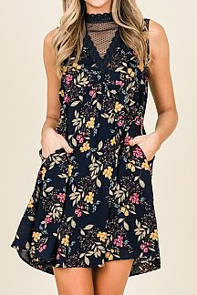 FLORAL PRINT FEATURING DOT MESH  MIDI DRESS