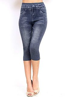 DENIM PRINT CROP JEGGINGS