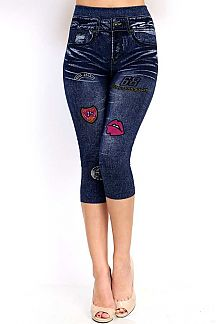 DENIM PATCH PRINT CROP JEGGING