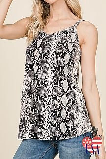 SNAKE PRINT SLEEVELESS CAMI TOP