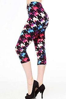 MULTI-COLORED HOUNDSTOOTH PRINT BRUSHED LEGGINGS