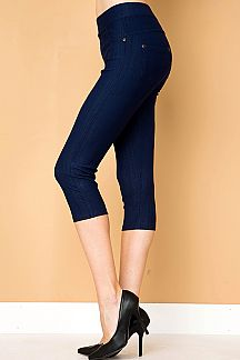 SOFT COTTON BLEND STRETCH CAPRI JEGGINGS