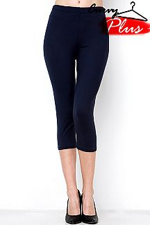 PLUS SIZE SOLID CAPRI LEGGINGS