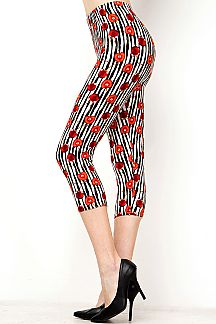 CHERRY & STRIPE PRINT CAPRI LEGGINGS
