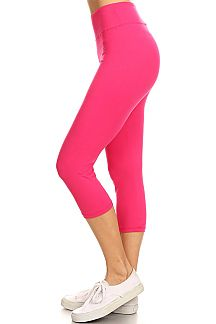 HIGH WAIST SOLID CAPRI LEGGINGS