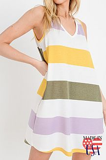 STRIPE PRINT SLEEVELESS MIDI DRESS