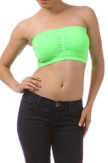 Solid bandeau with ruched detail