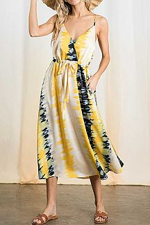 TIE DYE PRINT DRAWSTRING WAIST CAMI DRESS