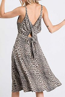 ANIMAL PRINT DRAPED & TIE BACK DETAIL CAMI DRESS