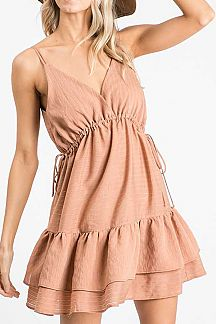 BURNOUT STRIPED RUFFLE TIERED CAMI DRESS