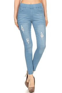 SOLID DISTRESSED JEGGINGS
