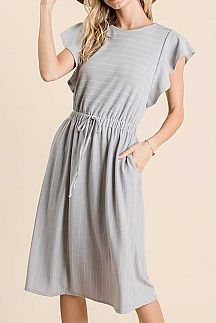 STRIPED FLUTTER SLEEVE DRAWSTRING WAIST MIDI DRESS