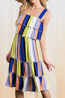 MULTI STRIPED RUFFLE TIERED SLEEVELESS MIDI DRESS