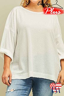 SOLID ROLL UP SLEEVES TOP