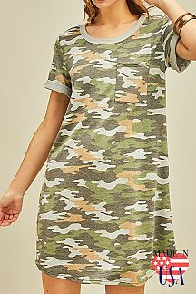 CAMOUFLAGE PRINT ROLL UP SLEEVES MIDI DRESS