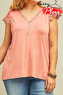 SOLID LACE CAP SLEEVES TOP