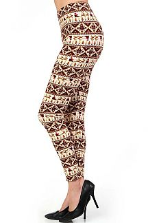 PLUS SIZE CHRISTMAS FAIR ISLE PRINT LEGGINGS
