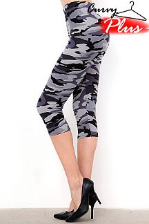 PLUS SIZE GREY CAMOUFLAGE PRINT CAPRI LEGGINGS