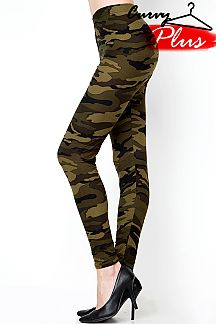 PLUS SIZE CAMOUFLAGE PRINT LEGGINGS