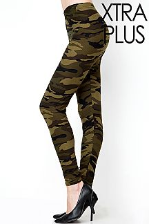 XTRA PLUS SIZE CAMOUFLAGE PRINT LEGGINGS