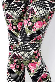 FLORAL & ETHNIC PATTERN PRINT LEGGINGS