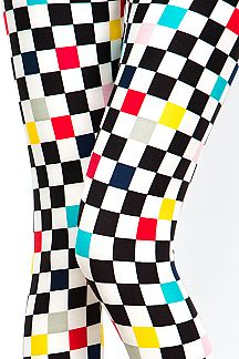 MULTI-COLORED CHECKER PRINT LEGGINGS