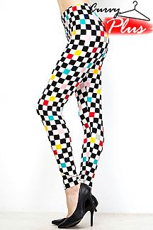 PLUS SIZE MULTI-COLORED CHECKER PRINT LEGGINGS