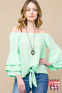 SOLID OFF SHOULDER TIERED RUFFLE SLEEVE TOP
