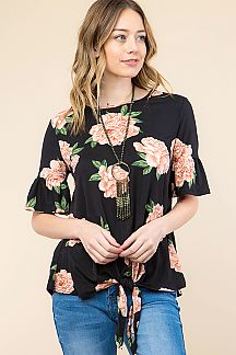 FLORAL PRINT RUFFLE TOP WITH FRONT TIE