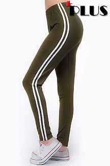 PLUS SIZE SOLID STRIPED SIDE LEGGINGS