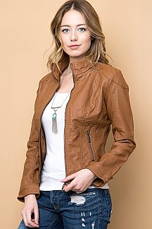 FAUX LEATHER ZIP UP MOTO JACKET