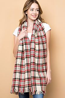 PLAID & HOUNDSTOOTH PRINT TWO SIDE FRINGED KNIT SCARF