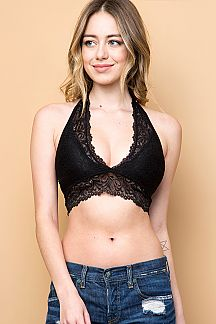 SOLID LACE HALTER NECK T STRAP BACK BRALETTE WITH PAD